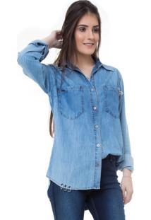Camisa Rosa Line Jeans Mullet Com Piercing