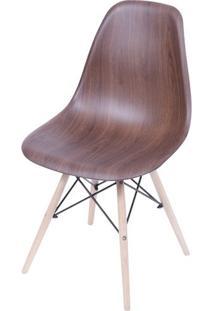 Cadeira Eames Polipropileno Amadeirado Escuro Base Madeira - 40596 - Sun House
