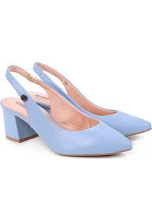 Scarpin Colcci Bico Fino Salto Bloco Chanel - Feminino-Azul Claro