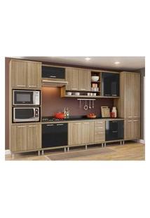 Cozinha Completa Multimóveis Com 9 Peças Sicília 5833 Argila/Preto