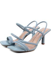 Sandália Dakota Salto Médio Bico Quadrado Azul