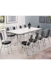 Conjunto Mesa Com 10 Cadeiras Estofadas Nápoles Móveis Brastubo