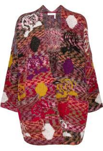 See By Chloé Cardigan Com Patchwork Color Block - Vermelho