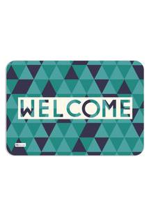 Tapete Decorativo Geométrico Welcome Verde 40X60Cm