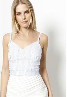 Blusa Cropped Com Bordados - Branca & Azul Claro- Mimiliore