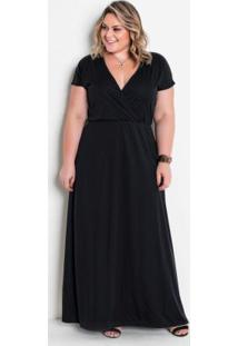 Vestido Longo Preto Plus Size Com Transpassado