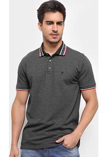 Camisa Polo Cavalera Básica Listras Masculina - Masculino-Mescla Escuro