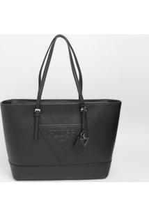 Bolsa Com Recorte & Bag Charm- Preta- 27,5X43X13Cm