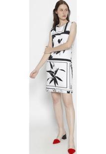 Vestido Floral Em Malha Jersey - Off White & Pretoosklen
