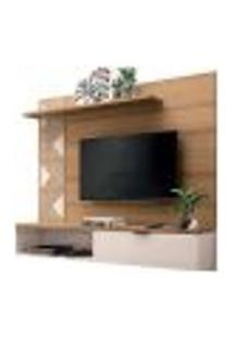 Painel Bancada Suspensa Para Tv Até 50 Polegadas Grid Freijó/Off White - Hb Móveis
