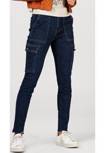 Calça Feminina Skinny Em Jeans De Algodão Com Bolso