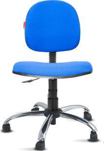 Cadeira Executiva Giratória Cromada Crepe Azul Royal