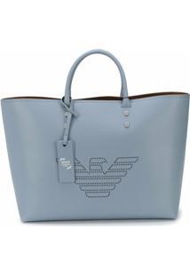 Emporio Armani Bolsa Tote Fretwork Com Logo - Azul
