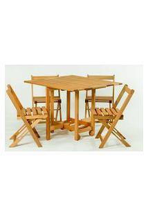 Conjunto 14 Bis Mesa Dobravel + 4 Cadeiras Estrutura Stain Jatoba - 61642 Jatoba