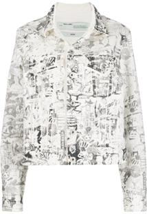 Off-White Graphic Logo Print Denim Jacket - Branco
