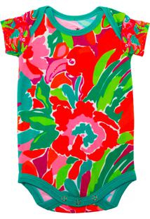 Body Manga Curta Isabb Flamingo Cores Multicolorido