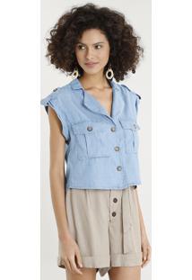 Camisa Jeans Feminina Com Bolsos Manga Curta Azul Claro