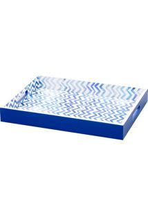 Bandeja De Madeira Com Alça Stripe 40X30Cm - Lyor Classic Azul/Branco