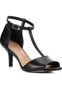 Sandália Couro Shoestock Salto Fino Médio Tira Feminina - Feminino-Preto