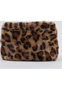 Bolsa Feminina Transversal Pequena Estampada Animal Print Em Pelúcia Bege