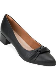 Sapato Salto Bloco Aquarela Aq20-005 - Feminino-Preto