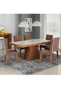 Conjunto De Mesa Para Sala De Jantar C/ Vidro Temperado E 6 Cadeiras Olivia/Milena - Cimol - Savana / Chocolate