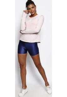Blusa Com Linho E Recortes- Rosa Claro & Brancaphysical Fitness