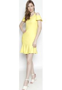 Vestido Midi Com Ombros Vazados - Amarelo- Moiselemoisele