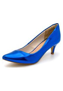 Sapato Scarpin Salto Baixo Fino Em Metalizado Azul Bic