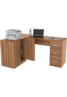 Mesa Para Escritório Em L Com Balcão Bliv - Castanho