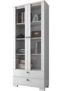 Estante P/ Livros C/ Portas Vidro Branco Dalla Costa