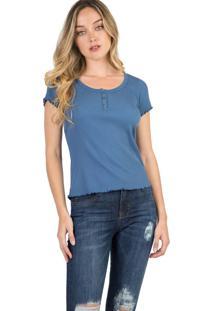 Blusa Canelada Azul Jeans