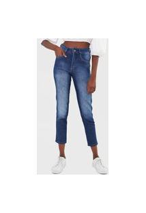 Calça Jeans Biotipo Mom Estonada Azul