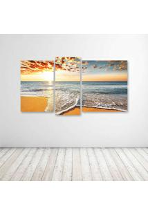 Quadro Decorativo - Wave Coming To Shore Beach N - Composto De 5 Quadros