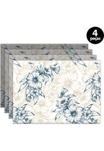 Jogo Americano Mdecore Floral 40X28Cm Branco 4Pçs