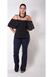 Blusa Ciganinha Kapsuli Plus Size Preta