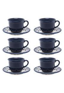 Jogo 6 Xícaras Com Pires Para Chá Floreal Energy Branco E Azul Oxford