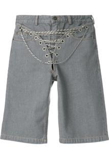 Y/Project Bermuda Jeans Com Aplicaçãode Correntes - Cinza