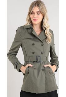 Casaco Trench Coat Feminino Transpassado Com Bolsos E Cinto Verde Militar
