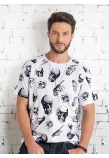 Camiseta Branca Actual Com Estampa De Caveiras