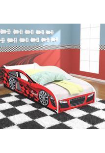 Cama Solteiro / Cama Carro Speedy Racing New 188X88 Cm - Vermelha/Vermelho - Rpm Mã³Veis - Incolor - Dafiti
