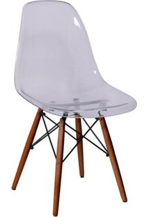 Cadeira Eames Base Madeira Escura E Incolor