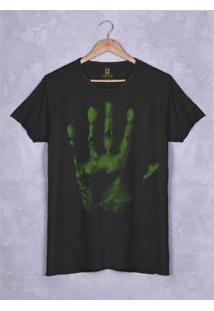 Camiseta Estonada Corte À Fio Joss Pare E Pense Masculina - Masculino-Preto