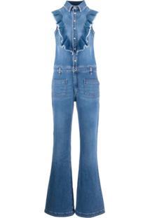 Redvalentino Macacão Jeans Com Detalhe De Babados - Azul