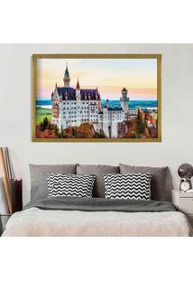 Quadro Love Decor Com Moldura Castelo Europeu Dourado Grande
