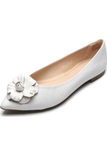 Sapatilha Couro Capodarte Flor Branca