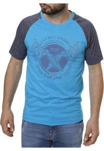 Camiseta Manga Curta Masculina Azul Claro