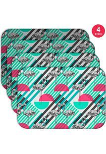 Jogo Americano Love Decor Wevans Flamingos Geométricos Kit Com 4 Pçs