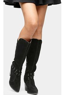 Bota Vizzano Over The Knee Tiras E Tachas - Feminino-Preto