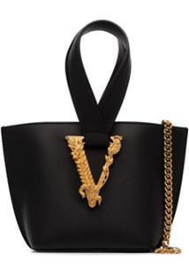 Versace Bolsa Bucket Virtus Com Placa De Logo - Preto